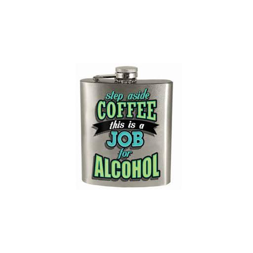 Spoontiques 15860 7 oz Hip Flask - Step Aside Coffee