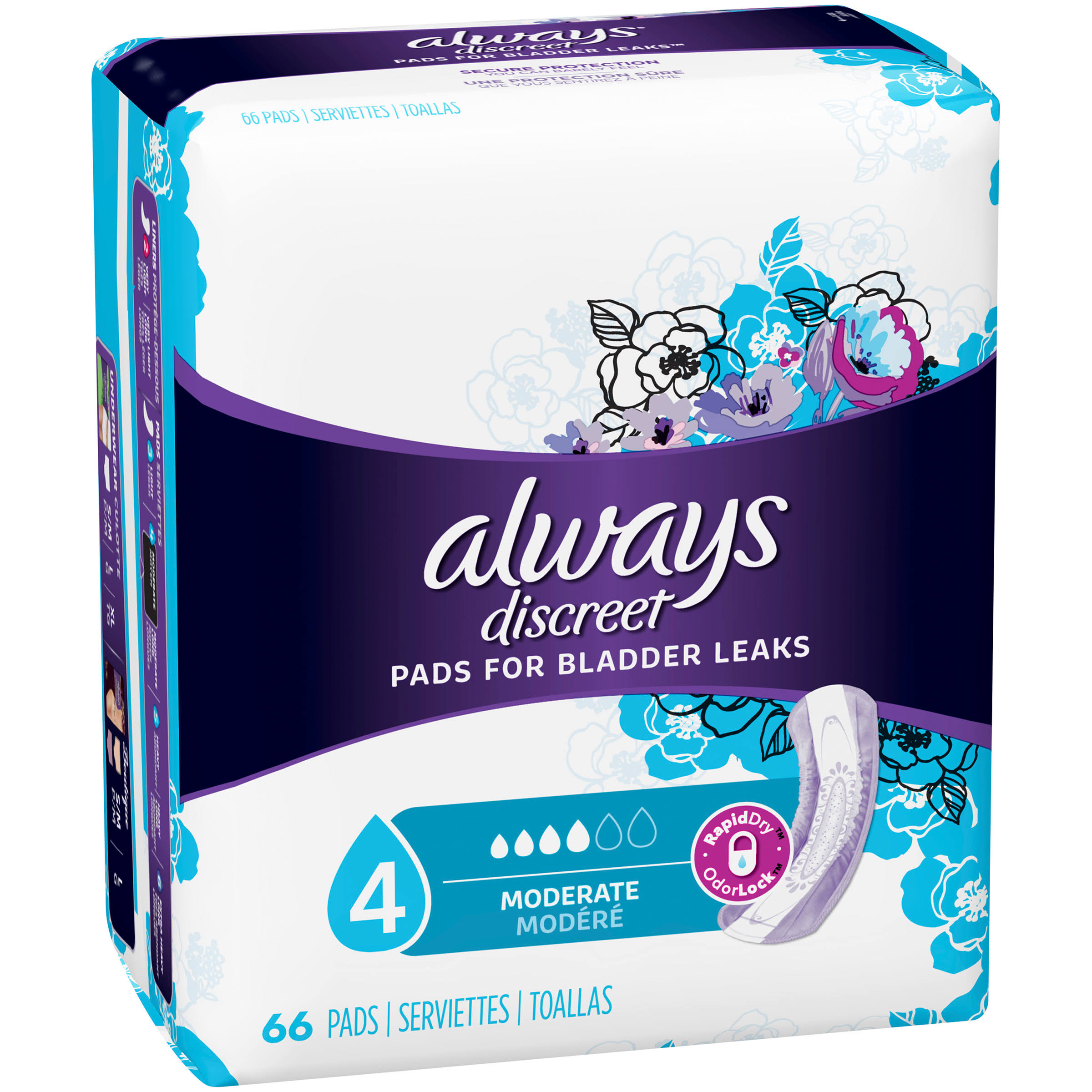 Always Discreet Moderate Bladder Protection Pads - 66ct