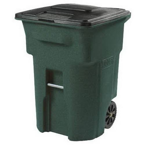 Toter Trash Can - with Wheels and Attached Lid, 96gal, Green