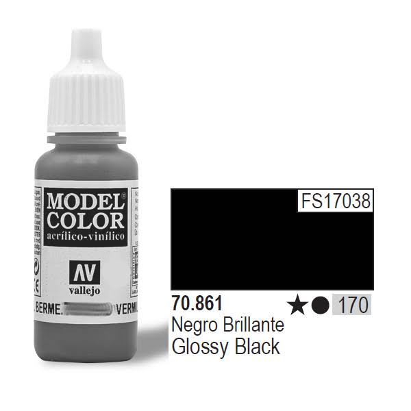 Vallejo Model Color - Glossy Black, 17ml