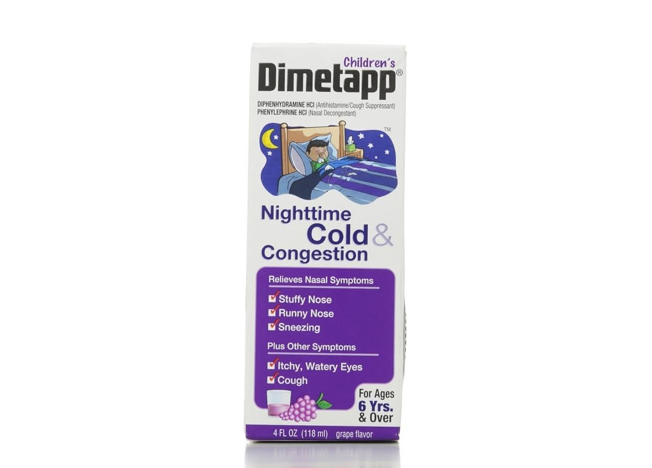 Dimetapp Children's Nighttime Cold and Congestion - Grape Flavor, 4oz