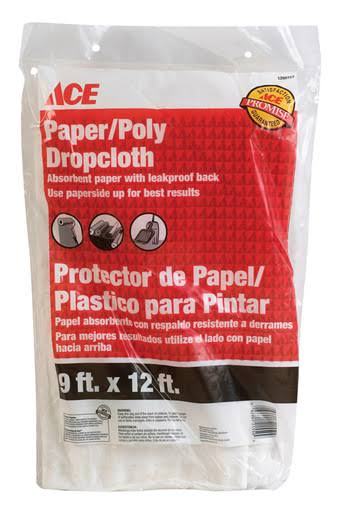 Ace 02301/12 Paper/Poly Drop Cloth - 9ft x 12ft