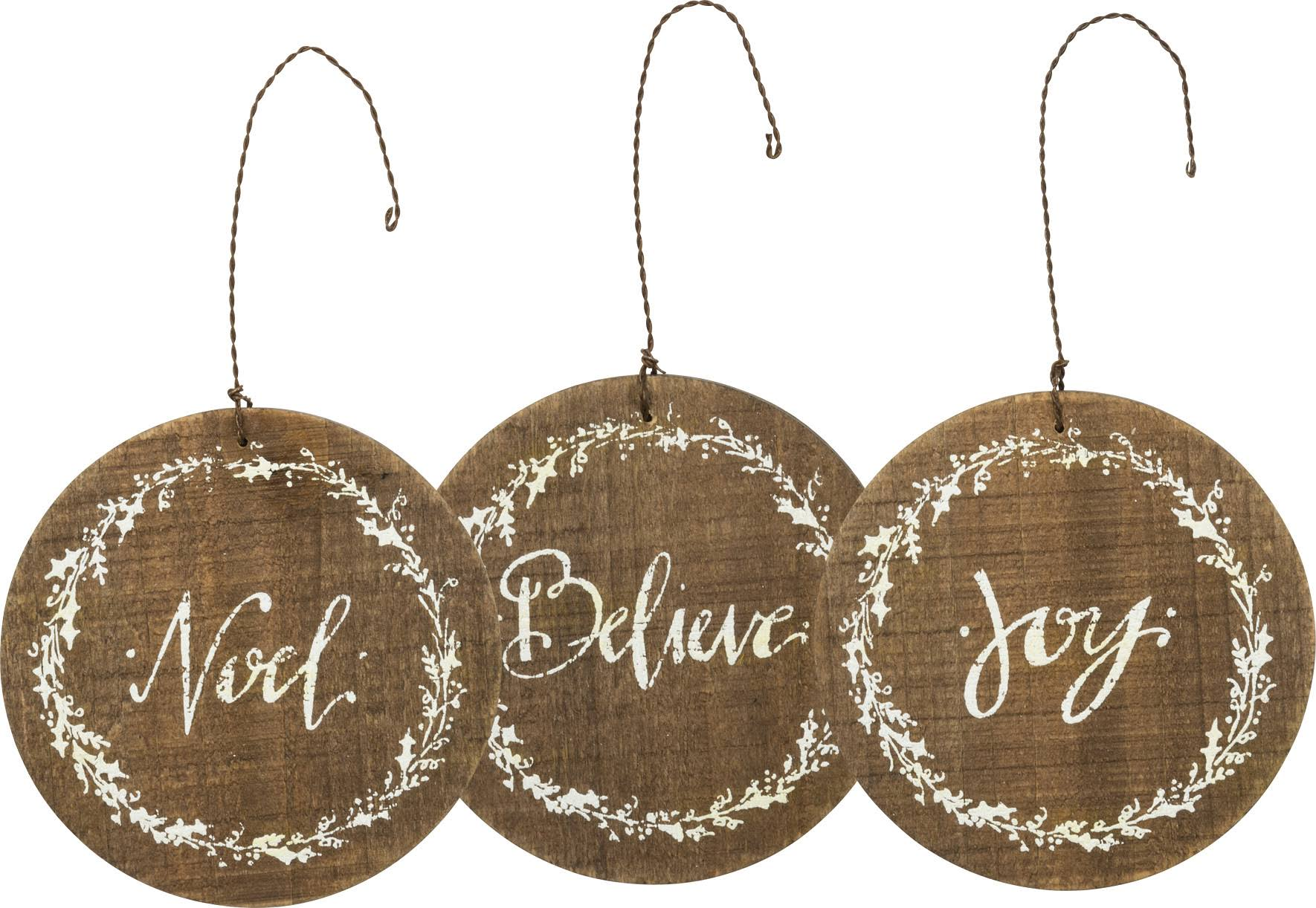 "Primitives By Kathy Barnwood Round Ornaments - Brown, 4"", 3pcs"