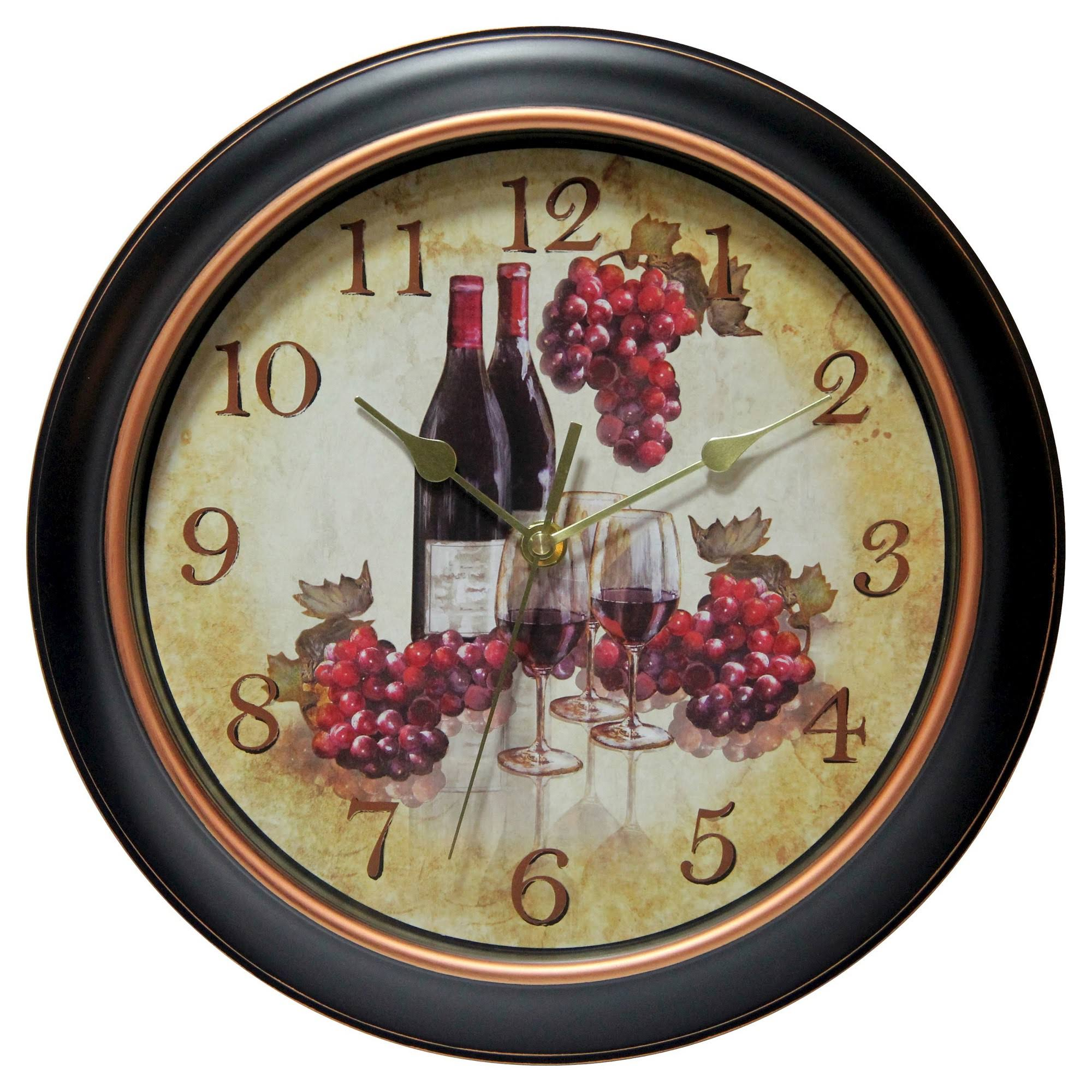 Infinity Instruments Valencia Wall Clock - 30cm, Silent Wine and Grapes