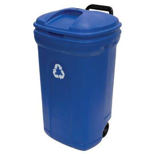 United Solutions Recycling Trash Can With Lid - Blue, 34 gal