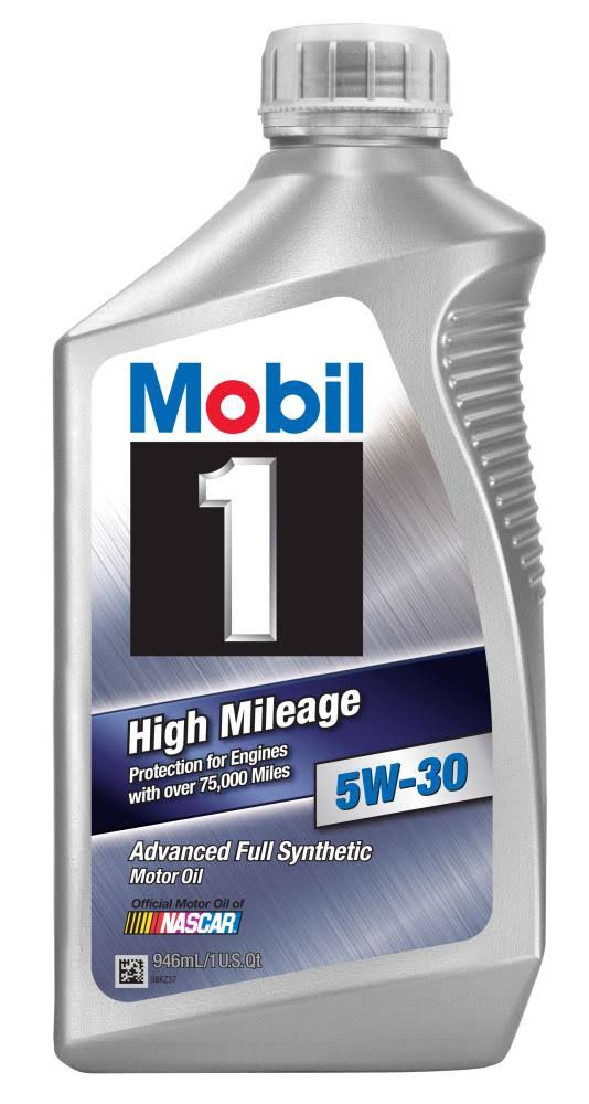 Mobil 1 High Mileage 5W-30 Fully Synthetic Motor Oil - 1qt