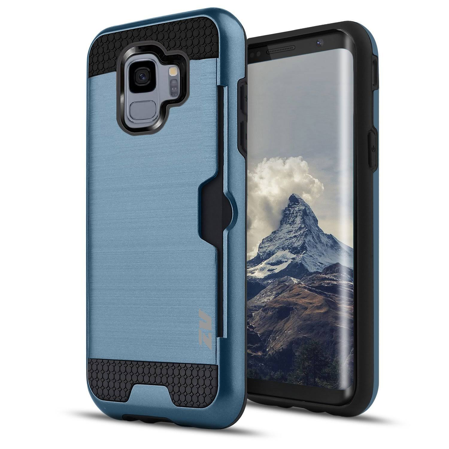 Samsung Galaxy S9 - Metallic Hybrid Cover with Credit Card Slots, Blue/Blue