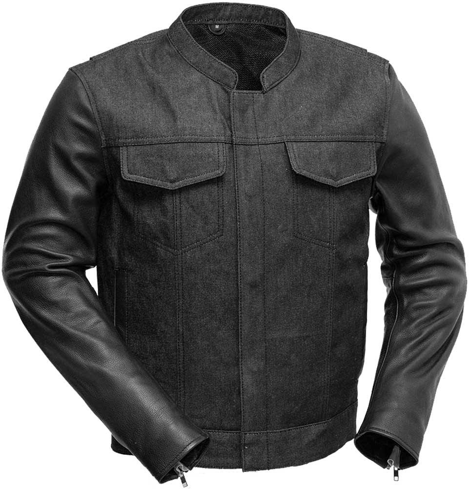 First Manufacturing Cutlass Denim / Leather Motorcycle Jacket Black