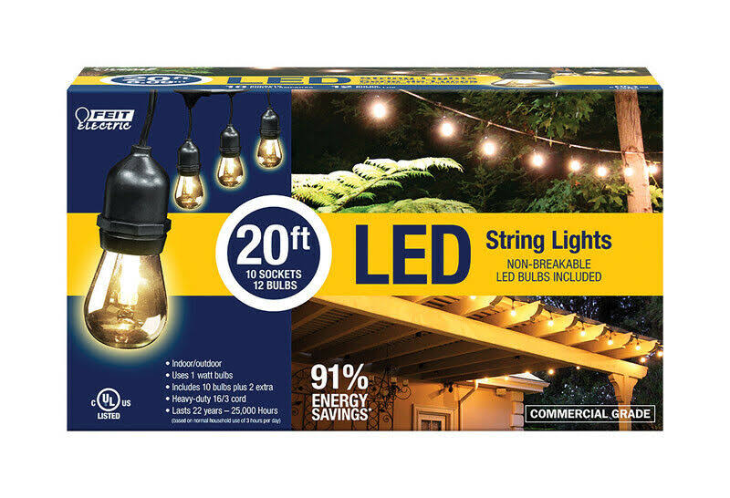Feit Electric Led String Lights - 20', 10 Sockets, 12 Bulbs
