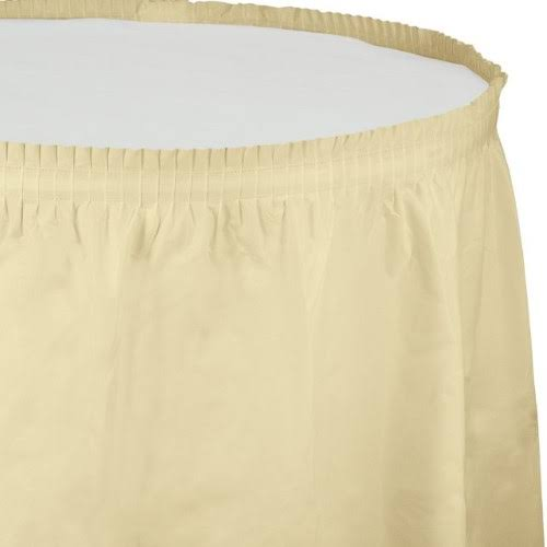 Creative Converting Plastic Table Skirt - Ivory