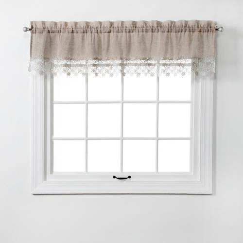 "Renaissance Home Fashion Lillian Valance with Macrame Band, 58"" x 12"", Linen"