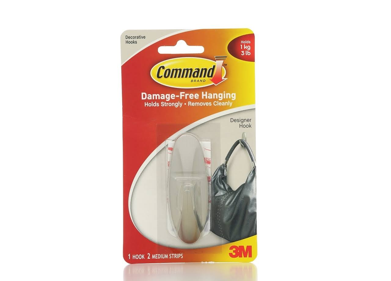 3M Command Damage-Free Hanging Designer Hook - Silver