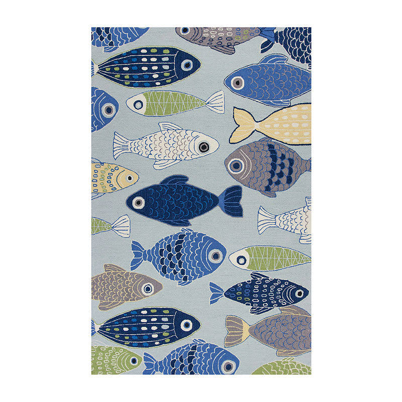 Kas Sonesta 2010 Light Blue Sea of Fish Rug - 2 ft x 7 ft 6 in Runner
