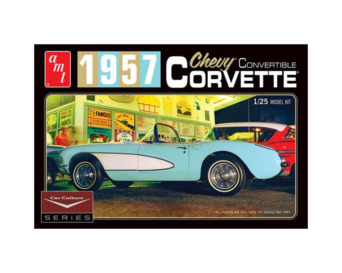 Amt 1016 1957 Chevy Corvette Convertible Molded Plastic Model Kit - 1:25 Scale, Aqua