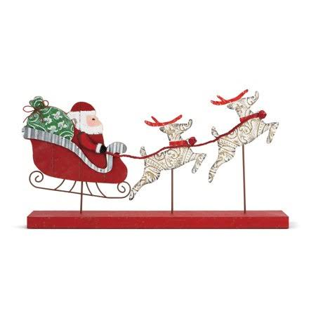 Demdaco Tin and Wood Santa with Sleigh Figure