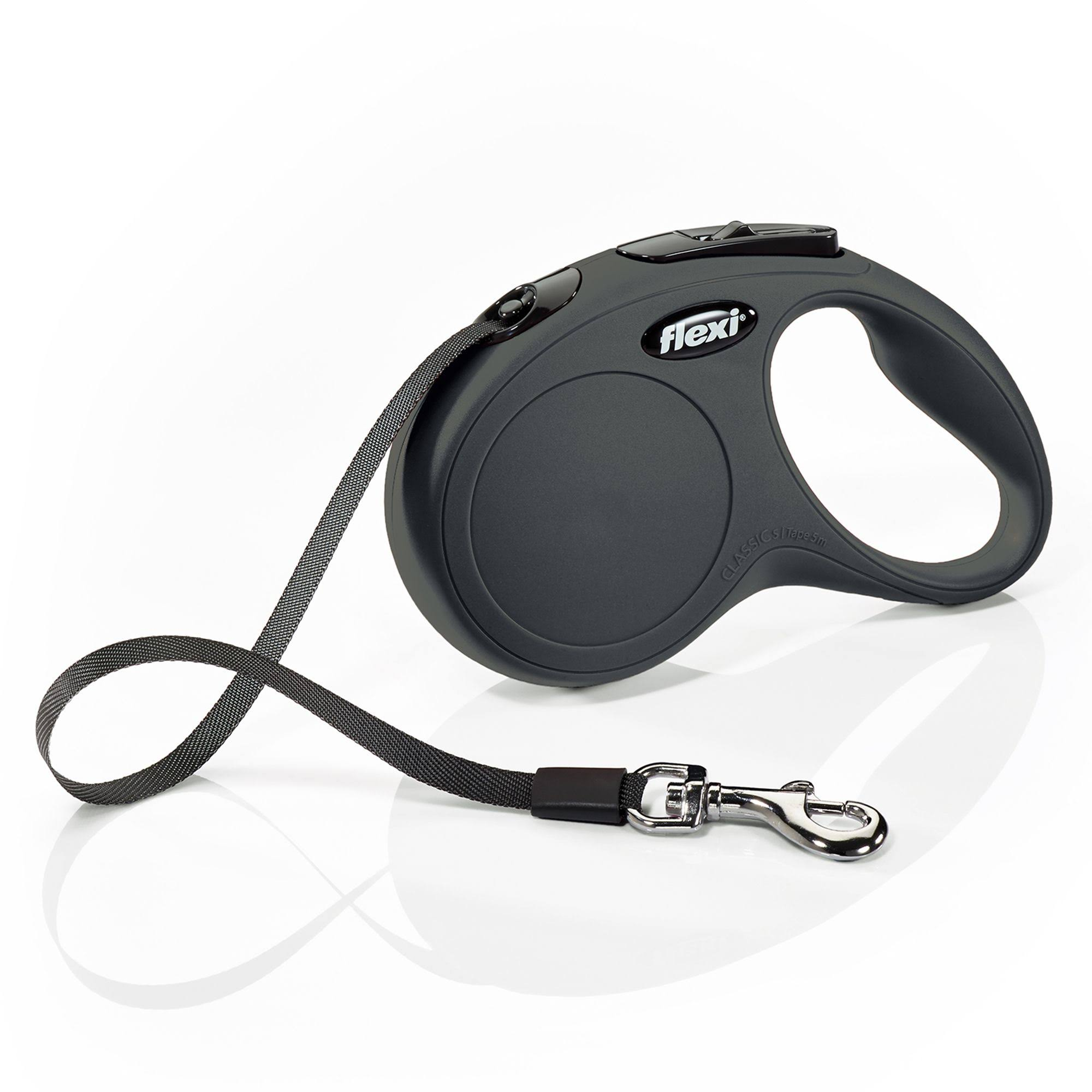 Flexi Classic Retractable Tape Leash - Black, 16'