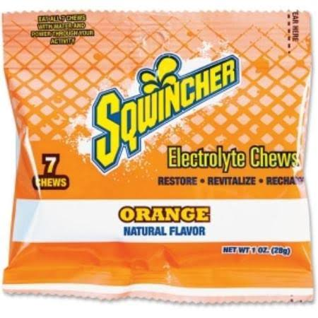 Sqwincher 010370-OR Electrolyte Fortified Energy Burst Pouch - Orange Flavor, 7 Chews
