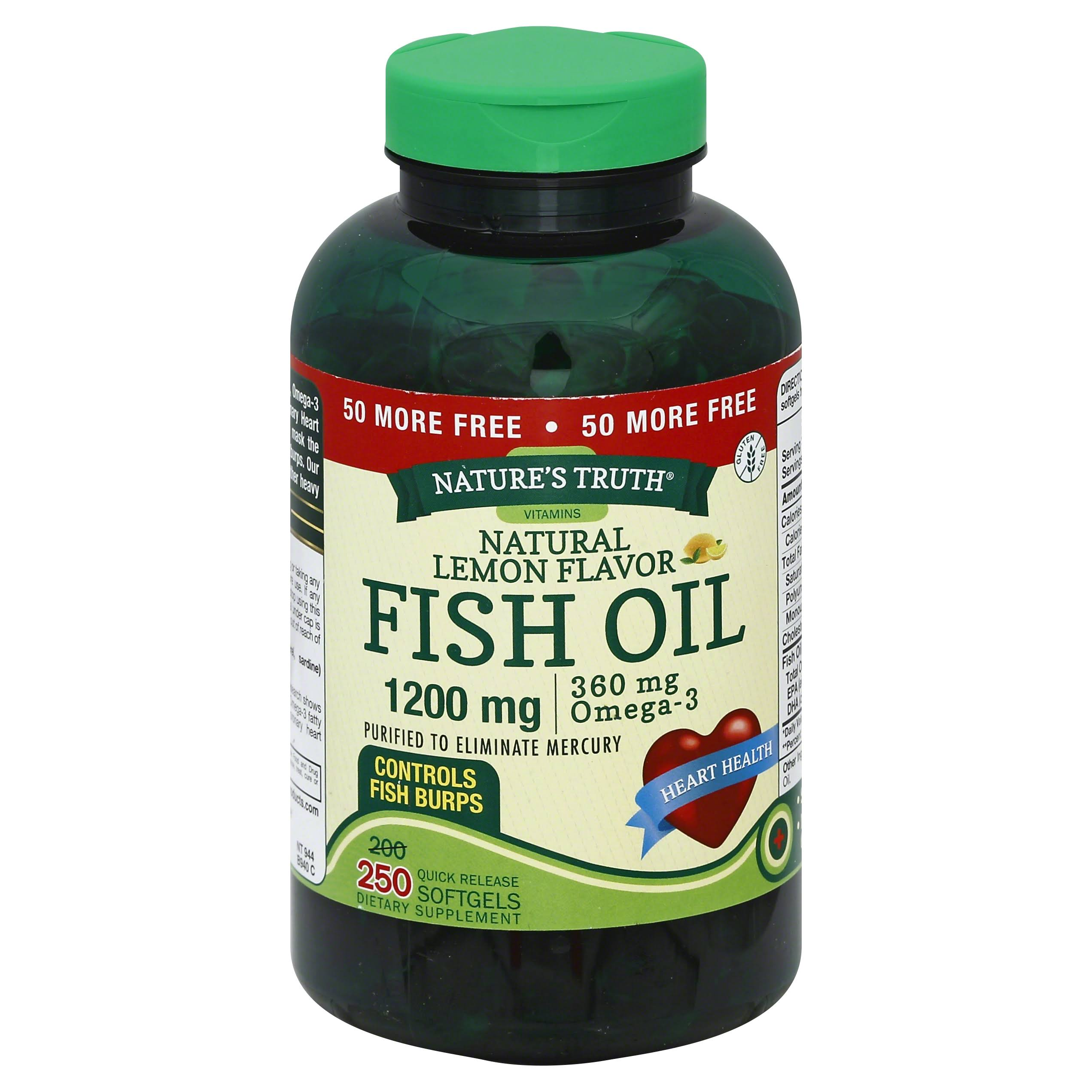 Nature's Truth 1200 Mg Omega-3 Fish Oil Softgels - Lemon, 250ct