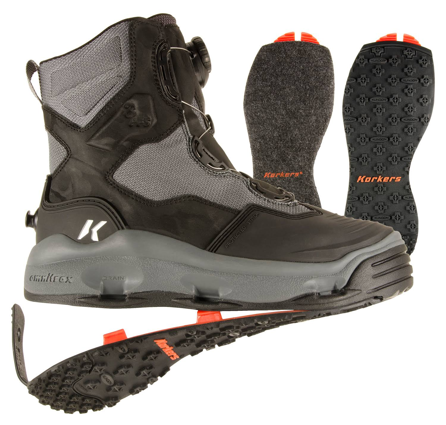 Korkers Darkhorse Wading Boots - Grey/Black, US12