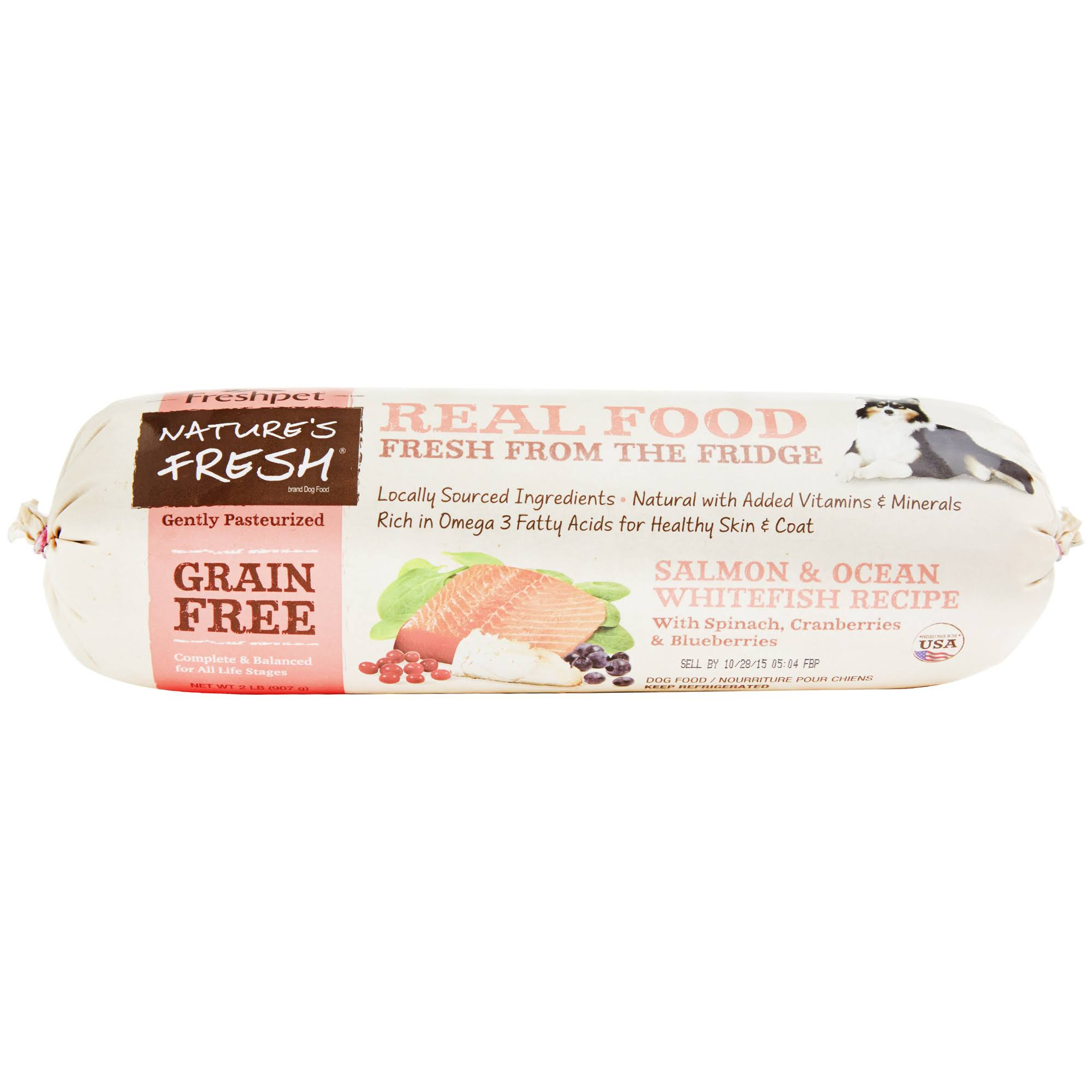 Natures Fresh KHCH00088477 Dog Grain Free Salmon & Ocean White Fish Spinach Cranberry 2 lbs