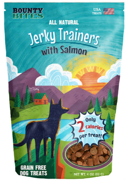 Bounty Bites Jerky Trainers with Salmon - Soft USA Made Whole Food Benefit Meaty Low Calorie Training Treats JJ240138