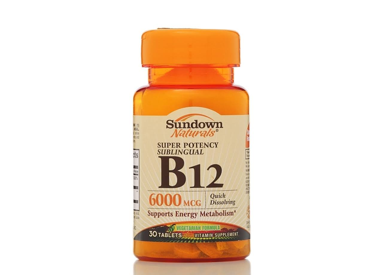 Sundown Naturals Dissolvable B12 Supplement - Cherry Flavored, 6000 mcg, 60ct