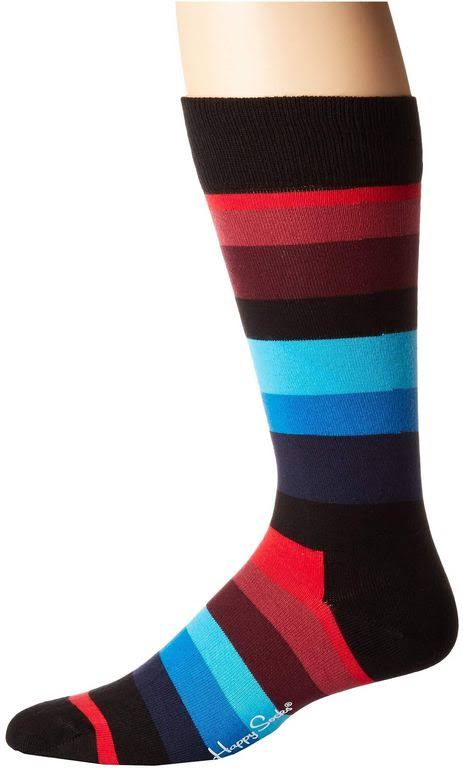Happy Socks Stripe Socks - Black/Blue - 10-13