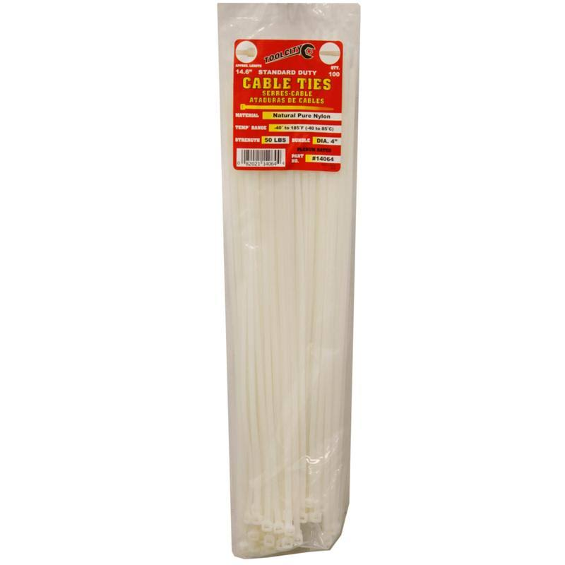 "Tool City 14064 Cable Tie - White, 14.6"", 100pk"