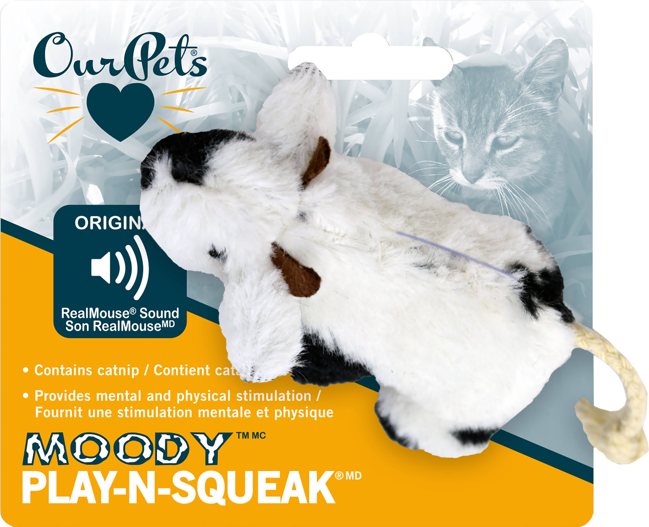 OurPet's Play N Squeak Moody Cow Cat Toy
