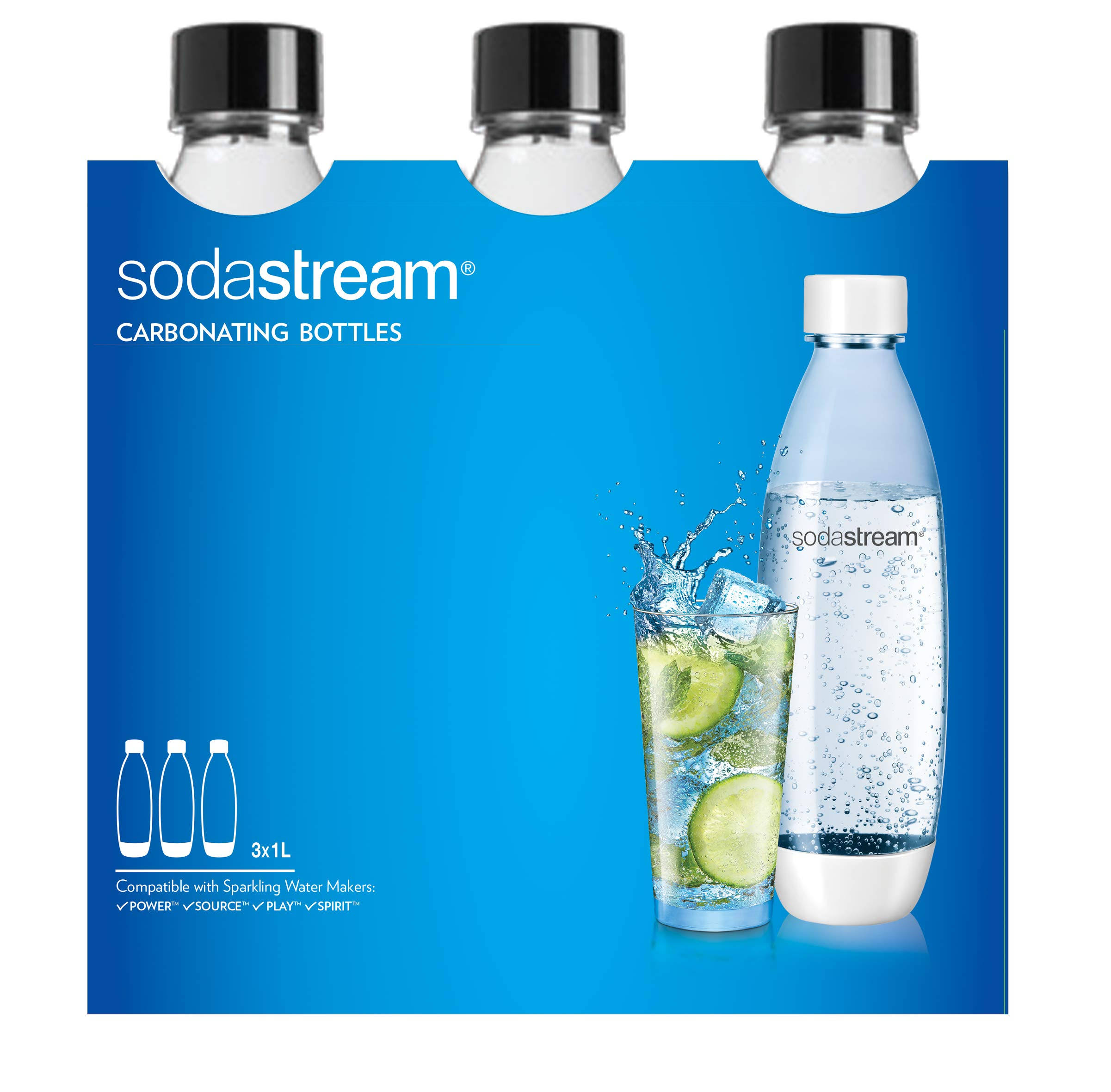 Sodastream Carbonating Bottles - Black, 1l
