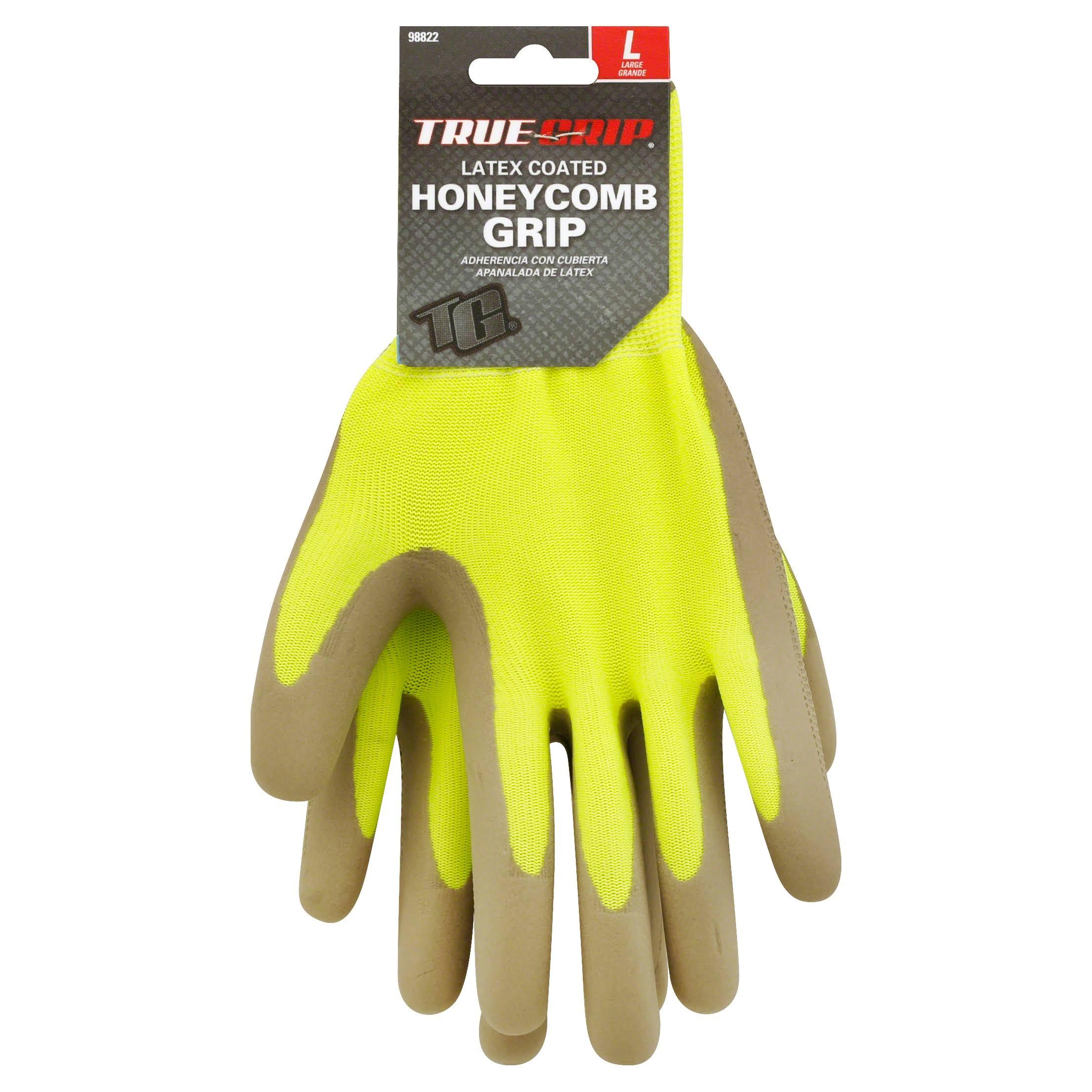 True Grip Gloves, Latex Coated, Honeycomb Grip, Large