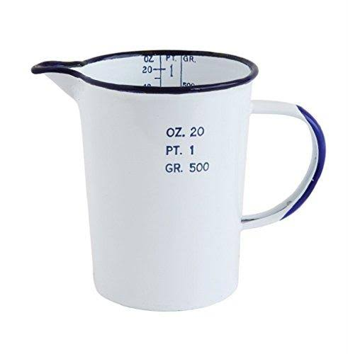 "Creative Co Op Vintage Reproduction Measuring Pint - White and Blue, 20oz, 6.81"" x 5.94"" x 4.06"""