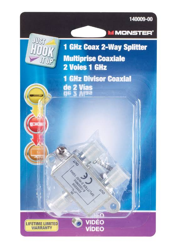 Monster Cable 2 Way Coax Splitter - 75Ohm, 1GHz