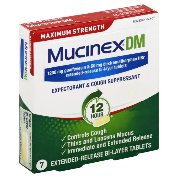 Mucinex DM 12 HR Max Strength Expectorant and Cough Suppressant - 7ct