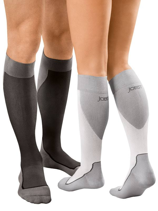 Jobst Sport Knee High 20-30 mmHg Compression Socks, White/Grey, Large