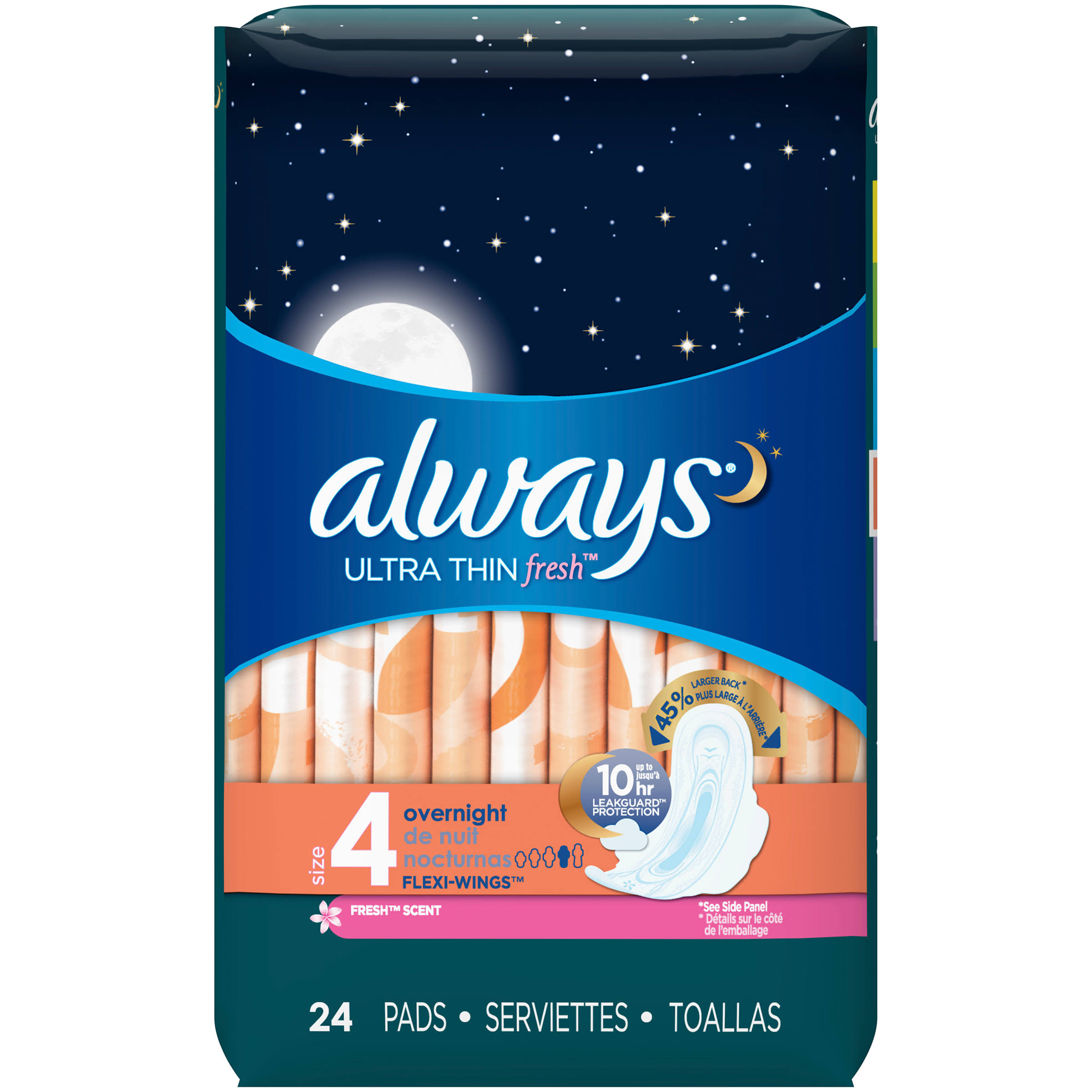 Always Ultra Thin Fresh Overnight Clean Scent Pads - Size 4, 24 Pack