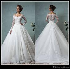 discount designer long sleeve a line wedding dresses 2016 v neck