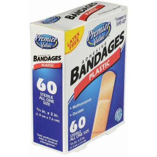 Premier Value Plastic Bandage 3/4 inchx3 inch - 60ct