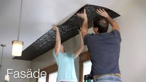 Tin Ceiling Tiles Home Depot by Ceiling Panel Installation Fasade Glue Up Ceiling Tiles Youtube