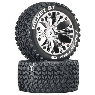 Duratrax Picket St 2.8 Truck 2WD Mounted 1/2 Offset C2 Wheels - 2pc, Chrome