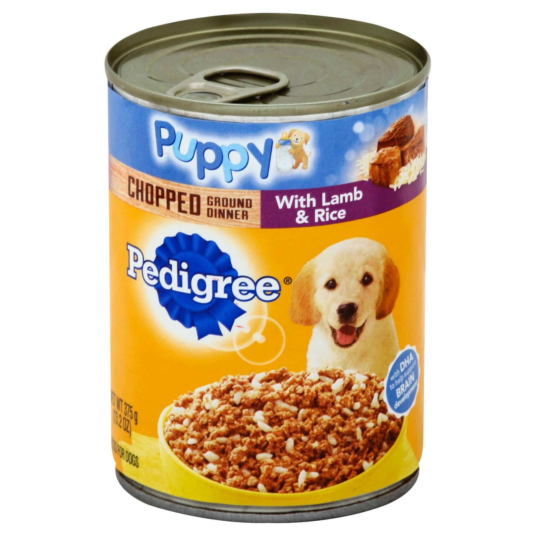 Pedigree Meaty Ground Dinner Puppy Complete Canned Dog Food - Lamb & Rice, 374g