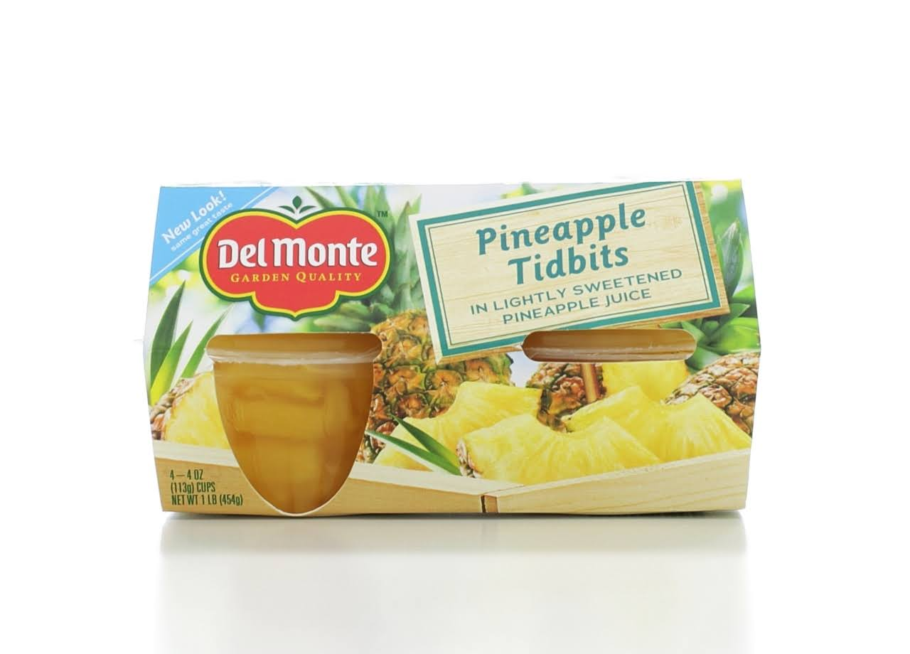 Del Monte Pineapple Tidbits - 4 pack, 4 oz cups