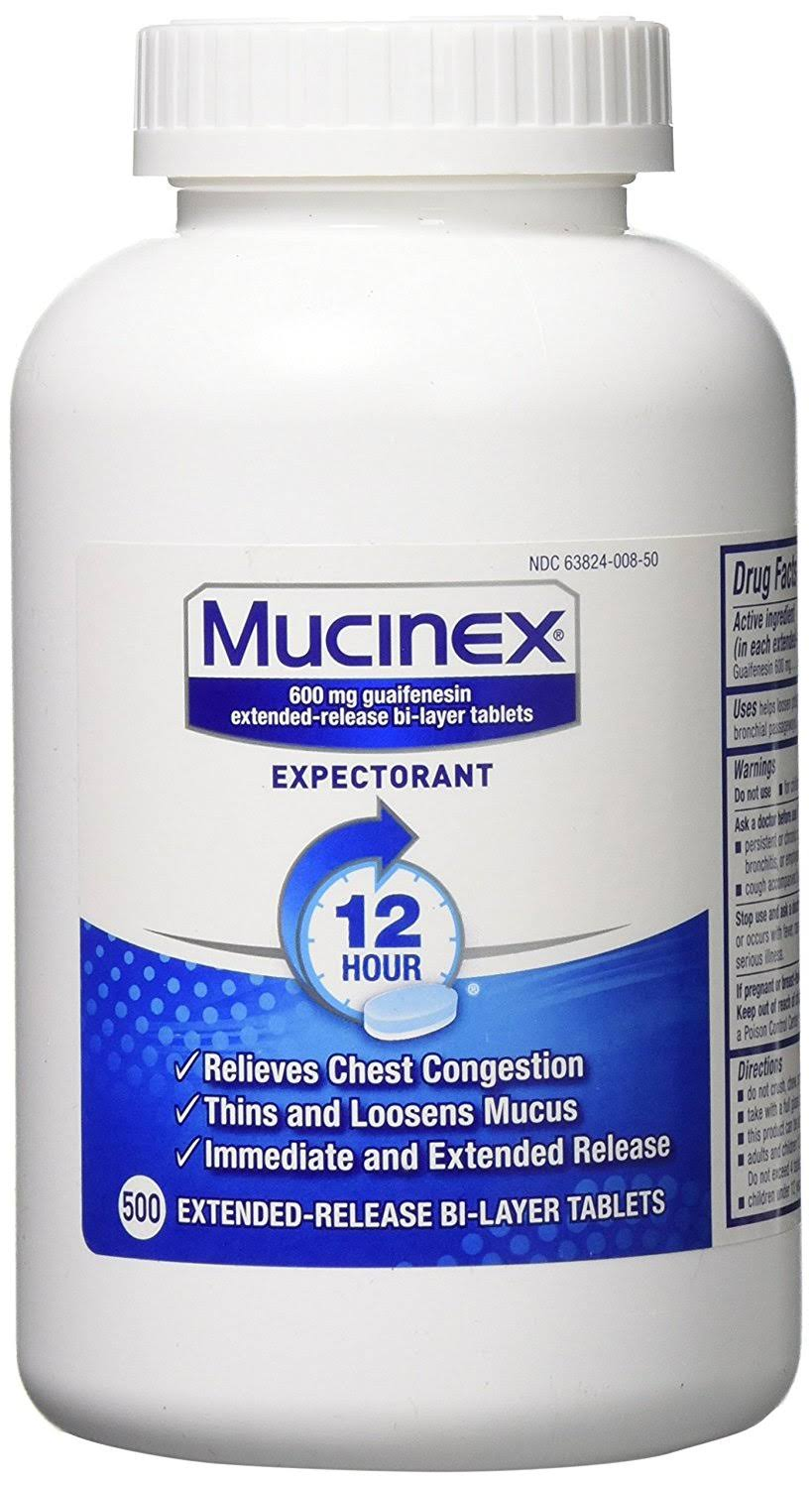 Mucinex 12 Hour Chest Congestion Expectorant Tablets - 500 Tablets
