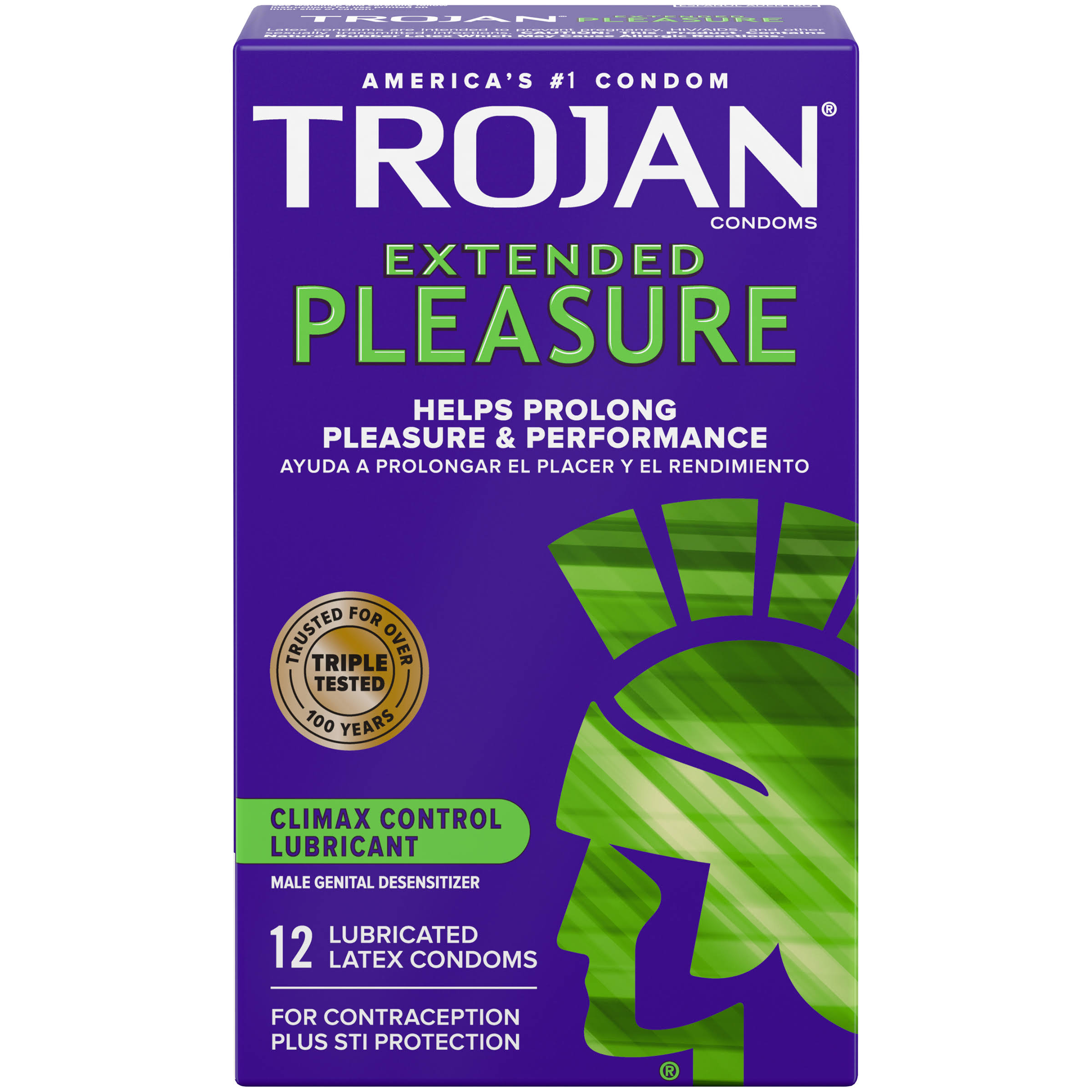 Trojan Extended Pleasure Climax Control Lubricant - 12 Latex Condoms