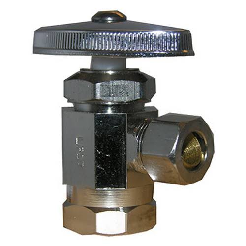 Larsen Supply Angle Stop Valve - Chrome Plated Brass
