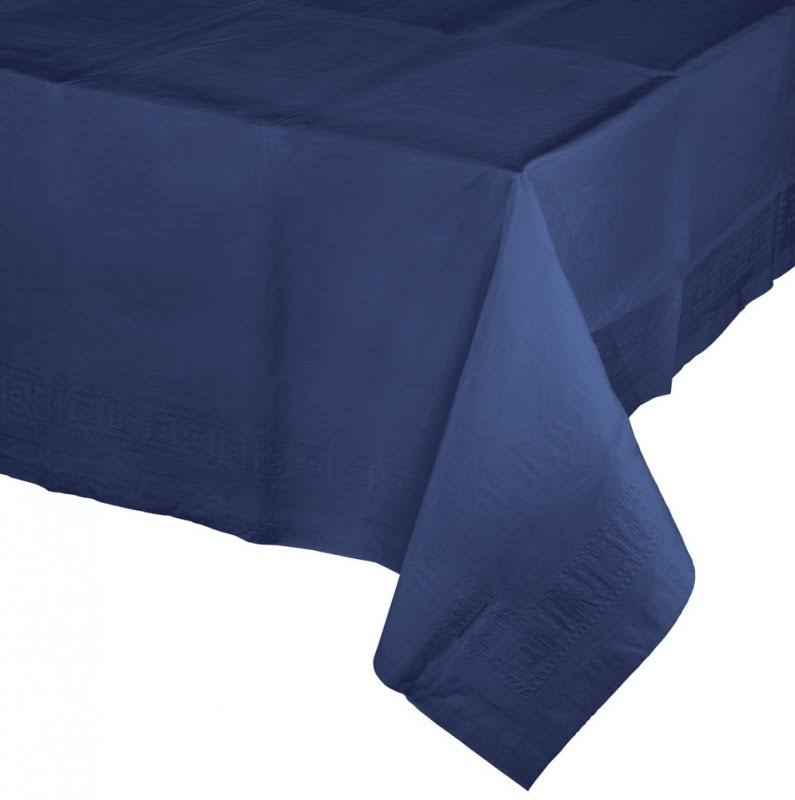 "Touch of Color Tissue Tablecover - Navy, 54""x108"", Poly Backing"