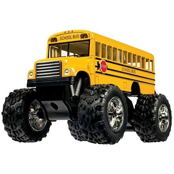 Toysmith Pullback Monster School Bus Die-Cast Toy - Yellow, 5""