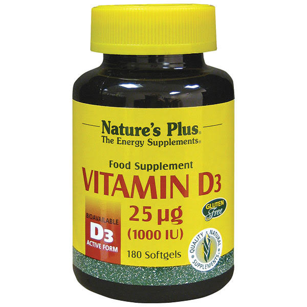 Natures Plus Vitamin D 1000 IU Dietary Supplement - 180 Capsules