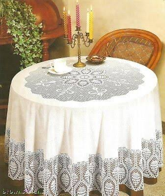 Better Home New Crochet Lace Vinyl Tablecloth - 70' Round / White
