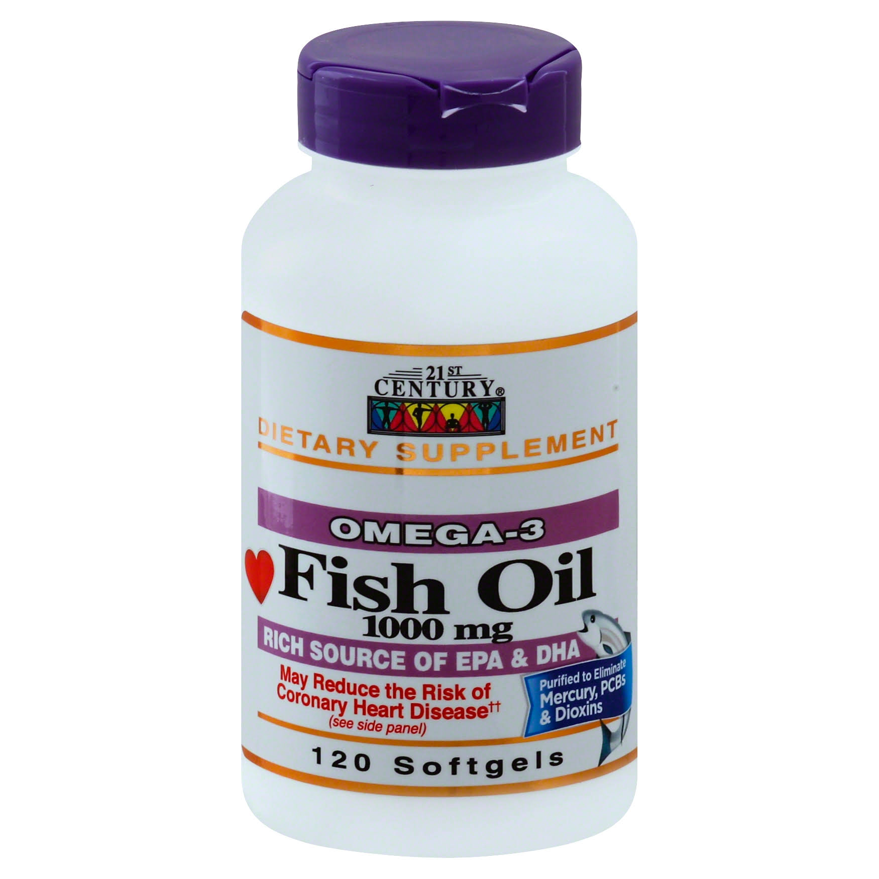 21st Century Omega-3 Fish Oil 1000mg Softgels - x120
